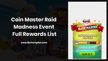 Coin Master Raid Madness Event Rewards List