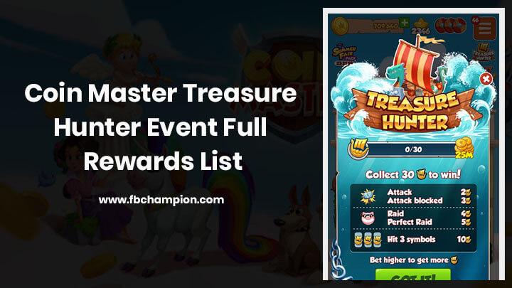 Coin Master Treasure Hunter Event Full Rewards List